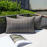 Kevin Textile Pack of 2 Decorative Outdoor Waterproof Throw Pillow Covers Lumbar Pillowcases Modern Cushion Cases for Patio C