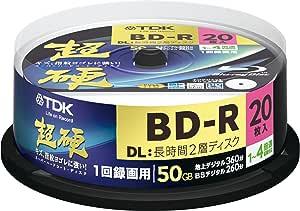 TDK 録画用ブルーレイディスク 超硬シリーズ BD-R DL 50GB 1-4倍速 ホワイトワイドプリンタブル 20枚スピンドル BRV50HCPWB20PA