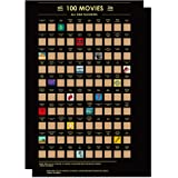 "100 Movies Scratch Off Posters With Easy Off Gold Foil 24"" x 16"" - Top Films of all Time Bucket List Movie Poster 2 Pcs Essen"