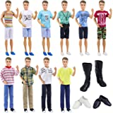 ZITA ELEMENT Fashion 10 Set Kens Clothes Outfits with 5 Shirts, 5 Pants and 3 Pairs of Shoes for 11.5 Inch Girl Doll Boyfrien