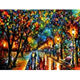 DIY Paint by Numbers Kit for Adults - Lights in Raining night | Paint by Numbers Landscape Scene Paintings Arts Craft for Hom