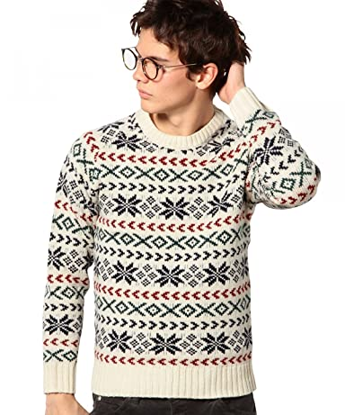 Snowflake 5-Gauge Wool Crewneck Sweater 3213-105-0378: Off White