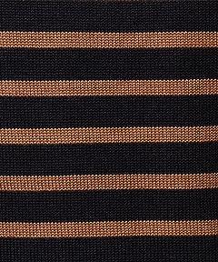 7 Gauge Wool Stripe Crewneck Sweater 3213-118-0437: Navy