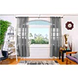 All American Collection New 2pc Doli Sheer Curtain 60x84 (Silver Grey)