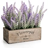 Artificial Potted Plants Lavender for Home Decor (Purple Flower, Wooden Tray)