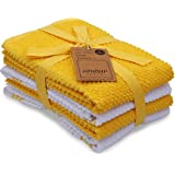 CASA DECORS Terry Kitchen Dish Towels Set of 4 (16 x 26 Inches), Yellow, 100% Cotton, Highly Absorbent, Machine Washable