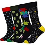 Cansok Men's 2/4 Packs Fun Crazy Novelty Dress Crew Socks