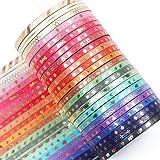 YUBX 24 Rolls Washi Tape Set,Foil Gold Skinny Decorative Masking Tape,3MM Wide Scrapbook Tape for DIY Craft Art Projects Bull