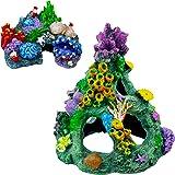 NONE/BRAND Fish Tank Decorations, 2Pcs Resin Aquarium Decorations Eco-Friendly Non-Toxic Aquarium Rocks Lovely Colorful Coral