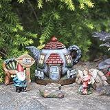 LA JOLIE MUSE Gnome Fairy Garden Accessories Kit 6 pcs, Hand Painted Miniature Figurines House Set, Thanksgiving Garden Decor