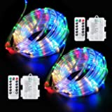 Fitybow 40FT 120 LED Rope Lights, Battery Operated String Lights 8 Modes Fairy Lights with Remote Timer, Outdoor Decoration L