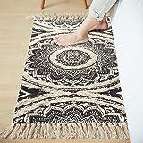 LEEVAN Mandala Cotton Rug 2' x 4.3' Rectangle Woven Tassel Throw Black Area Rug Fringe Print Tufted Chic Doormat Machine Wash