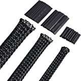 50ft Black PET Expandable Braided Cable Sleeve, Wire Sleeving with 127 Pieces Heat Shrink Tube for Audio Video and Other Home