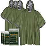 Everlit Survival Emergency Rain Poncho, Reusable Mylar Blanket Poncho All Weather Proof Outdoor Camping Gear Retains Up To 90