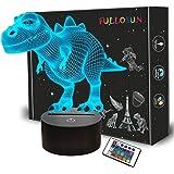 FULLOSUN 3D Dinosaur Bedside Lamp, T-rex Illusion Laser Night Light 16 Colors Changing Remote Control Novelty Child's Room De
