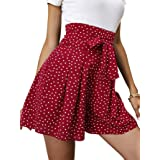 SheIn Women's Pleated Polka Dots Belted Wide Leg Ruffle High Waist Shorts