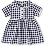 YOUNGER TREE Toddler Girls Dress Short Sleeves A Line Red/Blue Plaid Dress Kids Clothes Uniform Skirt Outfits Summer