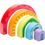 Le Toy Van - Educational Rainbow Wooden Montessori Stacking Tunnel Toy | Baby Educational Wood Toy | Learning Activity Toys f