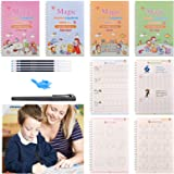 Magic Practice Copybook for Kids 4PCS, Reusable Calligraphy Copybook with Magical Pen, Calligraphic Letter Drawing Math Alpha