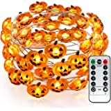 Brizled Pumpkin Halloween String Lights, 40 LED 13.12ft 8 Modes Battery Powered Fairy Lights with Remote & Timer, Flexible Co
