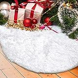 DegGod Christmas Tree Plush Skirts, White Pure Faux Fur Xmas Tree Skirt Mat Christmas Home Party Decorations Ornaments (30.7i