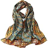 Long Crepe Silk Scarf Classic Painting Print