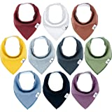Little Munchkins 10 Pack Solid Color Baby Bandana Drool Bibs for Boys, Unisex - Organic Cotton - Absorbent - Soft- Teething D