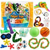 Sensory Fidget Toys 23-Pack – Stress Relief Toys for Focus & Calm – Toy Box & Party Favor Pack + Reusable Bag – Fidget Spinne