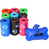 180 Pet Waste Bags, Dog Waste Bags, Bulk Poop Bags with Leash Clip and Bone Bag Dispenser - (180 Bags, Rainbow with Paw Print