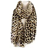 Fashion Leopard Pattern Scarf for Women Unique Ladies Animal Print Scarves Shawl and Wraps Oversized - 75 X 40 Inches by AIWA
