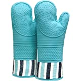 RED LMLDETA Heat Resistant 550 Degree Oven mitt, Silicone Oven Hot Mitts - 1 Pair, Extra Long Professional Baking Oven Gloves