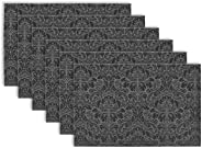DII Woven Damask Vinyl Double Border Placemats for Indoor/Outdoor Use, Set of 6, Black and Silver