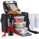 Meal Prep Lunch Bag/Box for Men, Women + 3 Large Food Containers (45 Oz.) + 2 Big Reusable Ice Packs + Shoulder Strap + Shake
