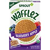 Sprout Organic Baby Food Toddler Snacks Wafflez, Blueberry Apple, Box of 5 Baked Waffle Snacks (Pack of 10)