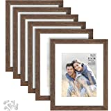 Langdon House 11x14 Picture Frames w/Mat to 8x10 (Rustic Brown, 6 Pack) Traditional Wood-Like Photo Frames for Any Décor Styl