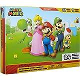 "Nintendo Advent Calendar Super Mario Christmas Holiday Calendar with 17 Articulated 2.5"" Action Figures & 7 Accessories, 24 D"
