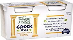 Farmers Union Natural Greek Style Yoghurt, Honey, 140g, Pack of 2 - Chilled