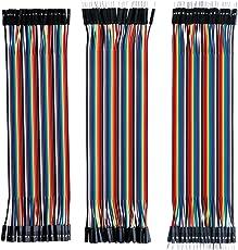 ELEGOO 120pcs多色デュポンワイヤー、arduino用ワイヤ—ゲ—ジ28AWG オス-メス オス-オス メス –メス ブレッドボードジャンパーワイヤー