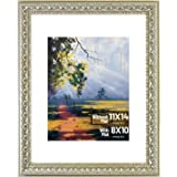 Golden State Art, 11x14 Ornate Finish Photo Frame, with Ivory Mat for 8x10 Picture & Real Glass
