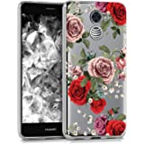 BAISRKE Huawei Ascend XT2 Case, Huawei Y7 Prime Case with Flowers Slim Shockproof Clear Floral Pattern Soft Flexible TPU Back