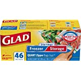 Glad Zipper Food Storage and Freezer 2 in 1 Plastic Bags - Quart - (Pack of 3 - 46 Count) (Package May Vary)