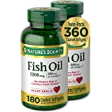 Fish Oil by Nature's Bounty, Dietary Supplement, Omega-3, Supports Heart Health, 1200 mg Twin Packs, 360 Rapid Release Liquid
