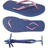 Boomerangz Women's Slim Fit Flip Flops - Navy with Pink Straps - Ladies Flip Flops - Womens Rubber Flip Flops - Light Flip Fl