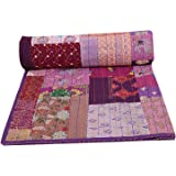 Vintage Indian Cotton Khambadiya Bed Cover Queen Patchwork Kantha Bedspread Throw Hand Stitched Bedding Blankets