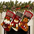 """Sunnyglade 3PCS 18"""" Christmas Stocking Classic Personalized Large Stockings Santa, Snowman, Reindeer Xmas Character for Famil"""
