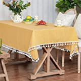 LUCKYHOUSEHOME Yellow and White Checkered Tassel Tablecloth Cotton Linen Rural Square Home Kitchen Dinning Tabletop Table Cov