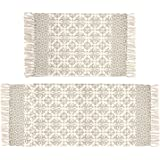 Pauwer Tan Moroccan Cotton Area Rug Set 2 Piece 2'x4.2'+2'x3' Machine Washable Printed Cotton Rugs with Tassel Hand Woven Cot