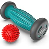 Foot Massager Roller + Ball for plantar fasciitis - Total Relief for Heel Spurs & Foot Arch Pain - Acupressure Reflexology To