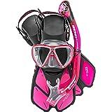 Cressi Adult Snorkeling Set (Mask, Dry Snorkel, Adjustable Fins) Ideal for Travel - Lightweight Colorful Equipment | Bonete P