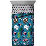 Jay Franco Minecraft Genda Iso Animals Full Comforter - Super Soft Kids Reversible Bedding Features Creeper - Fade Resistant